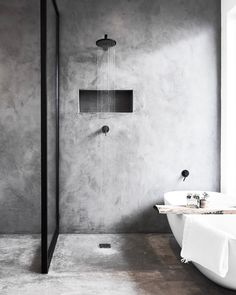 Six of the Best: Black Bathroom Taps — LIV for Interiors Concrete Shower, Concrete Bathroom, Concrete Walls, Black Bathroom Taps, Grey Bathrooms, Master Bathroom, Bathroom Tapware, Neutral Bathroom, Bad Inspiration