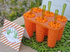 Orange candy and green spoons to look like carrots - so clever!