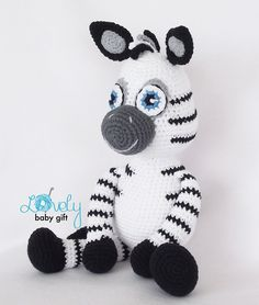 This is a DOWNLOADABLE PATTERN and NOT the zebra toy.  Pattern is written in ENGLISH (in US terms), DANISH, DUTCH, GERMAN, FRENCH and SPANISH languages.  This amigurumi toy is easy to make, if you know all the basic crochet terms: - crocheting in rounds - chain, slip, single crochet, double crochet stitch - increasing and decreasing  Tutorial comes with lots of photos illustrating the process to help you.  Pattern can be made with sport or worsted weight yarn. The finished zebra size is…