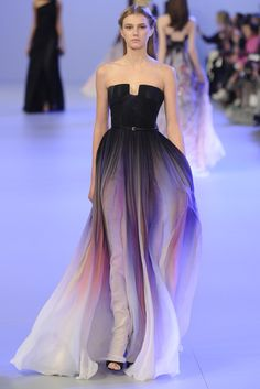 Darkly Feminine : Elie Saab Couture Spring 2014 (black to lilac/pink ombre u-notch gown)