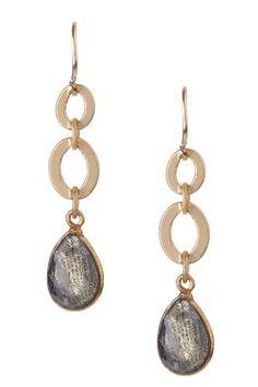 Bezel Set Labradorite Drop Earrings by mariechavez on @HauteLook