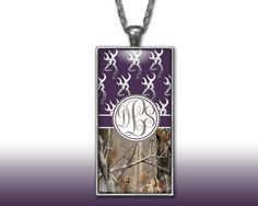 Dark Purple Buckhead Camo Monogram Pendant Charm Necklace Browning Personalized Country Girl Custom Initial Necklace, Monogram Jewelry