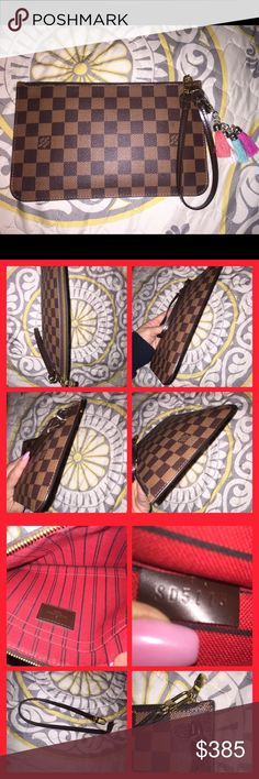 Louis Vuitton Neverfull MM GM Pochette Pouch DE Authentic! DateCode SD5115. 2015! Inside clean. Trim has no cracks or scuffs. Small mark in front and on back(pics provided). Wrist strap is separating at the D-ring(pic provided). Very nice. Has been used. Will fit iPhone 6-7 plus with room to spare! Louis Vuitton Bags Clutches & Wristlets