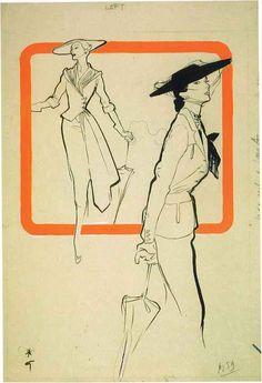 René Gruau, Original illustration for International Textiles, April 1951. Collection of The Gemeentemuseum Den Haag.