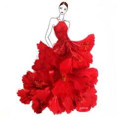Red Hibiscus flower dress by Grace Ciao