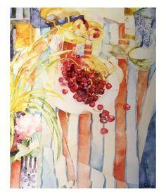 Art Print: Cherries on White Plate Art Print by Shirley Trevena by Shirley Trevena : Shirley Trevena, Wall Art Prints, Fine Art Prints, Plate Art, Still Life Art, Watercolor Paintings, Watercolors, Watercolor Food, Flower Paintings