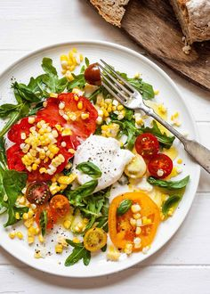 Arugula Salad with Tomatoes, Corn, and Burrata Burrata Salad, Arugula Salad, Tomato Salad, Cobb Salad, Kale Quinoa Salad, Superfood Salad, Mozzarella, Garlic Ginger Chicken, Asian Chopped Salad