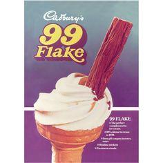 Cadbury's 99 Flake vintage advert (remember these from my trip in Sweet Memories, Childhood Memories, 99 Ice Cream, 80s Food, Christmas Ice Cream, Ice Cream Poster, Vintage Sweets, Vintage Ice Cream, Gift Coupons
