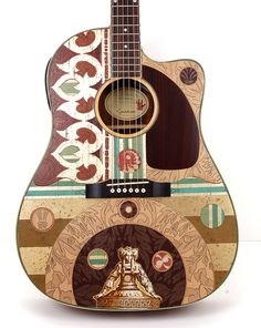 """Beautiful Acoustic Electric Guitar """"Mother of Structure"""" Altered, Modified Playable Art Instrument Music Gear.an Etsy find! Guitar Pics, Cool Guitar, Neil Young, Making Musical Instruments, Music Instruments, Guitar Painting, Guitar Collection, Guitar Design, Custom Guitars"""