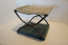 antique Carriage stool metal blue fabric footstool by gleaned, $44.00