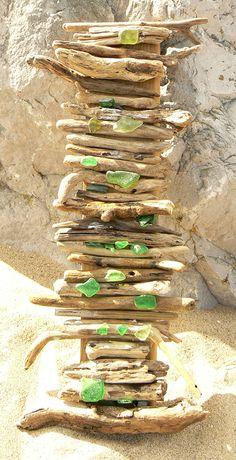 Driftwood & SeaGlass Art Assemblage Mix Media Panel 1 by BeachPurl, £10.00