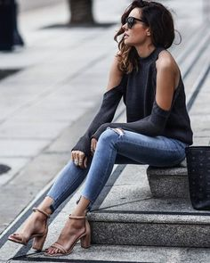 Cold Shoulder Grey Jumper With Frayed Ripped light Blue Skinny Jeans And Cute Spring Heels