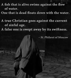 """A fish that is alive swims against the flow of water. One that is dead floats down with the water. A true Christian goes against the current of [a] sinful age. A false one is swept away by its swiftness."" - Saint Philaret of Moscow"