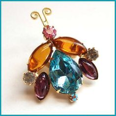 Delizza & Elster Jewelry Vintage Lady Bug Pin Jeweled Glass Brooch $60