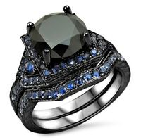 3.25 CT Turkish Princess Cut Round Blue Sapphire Ring, Couple Ring Black Gold Filled Wedding Ring, Medusa Jewelry For Women