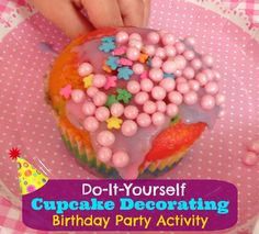 """DIY """"Cupcake Decorating"""" - a great Kid's Birthday Party Activity!"""