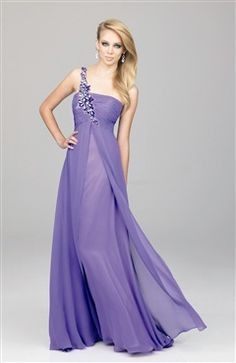 Chiffon A-line Floor-length One Shoulder #Prom #Dress Style Code: 08033 $132