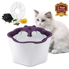 Cat Water Fountain, Fityou Flower Pet Dispenser, Super Quiet Automatic Pet Drinking Water Bowl for Dog, Free Filte. Cat Flowers, Unique Flowers, Not Drinking Enough Water, Drinking Water, Cat Water Fountain, Dog Water Bowls, Waterfall Design, Water Dispenser, Dog Love