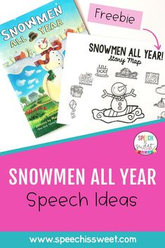 Snowmen All Year by Caralyn and Mark Buehner is a great book to work on various speech and language skills. You can work on sequencing, visualizing, comprehension, WH questions, and more! This book can be used for winter speech therapy or all year round! Be sure to download the free story map on my blog. | Speech is Sweet