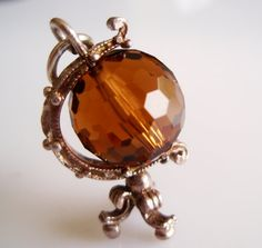 Sterling Brown Crystal Globe Charm Rotates by TrueVintageCharms, £25.00
