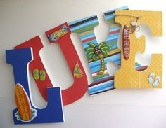 Surfer Custom Decorated Wooden Letters Personalized by LetterLuxe