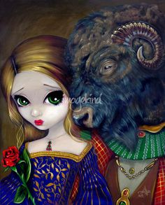 """""""Beauty and the Beast"""" by Jasmine Becket-Griffith, Celebration, Florida // Beauty and the Beast! The latest in my Fairy Tale series - and one of my BEST! One of my favourite fairytales of all time, here is the big eyed Beauty herself (with the GREENEST eyes I've ever painted!), with her magnificent Beast. She really is lovely, and he is handsomely ... // Imagekind.com -- Buy stunning fine art prints, framed prints and canvas prints directly from independent working artists and photographers."""