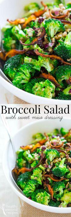 broccoli salad with sweet miso dressing - Healthy Seasonal Recipes