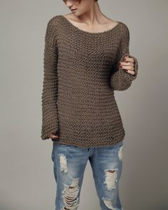 Simple is the best Hand knitted sweater Eco sweater by MaxMelody, $85.00