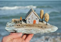 Pin by Robin Winzenread, Author on driftwood and fish paintings Driftwood Projects, Driftwood Art, Small Wooden House, Wooden Crafts, 2x4 Crafts, Recycled Crafts, Ceramic Houses, Salvaged Wood, Miniature Houses