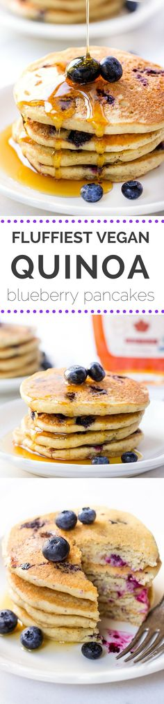Love these fluffy QUINOA PANCAKES studded with fresh blueberries and drizzled in warm maple syrup. They're the ULTIMATE breakfast treat! ***I would swap the flax eggs for real, pasture-raised eggs unless you are allergic. Quinoa Pancakes, Tasty Pancakes, Blueberry Pancakes, Breakfast Pancakes, Waffles, Superfood, Pancake Calories, Vegan Blueberry, How To Cook Quinoa