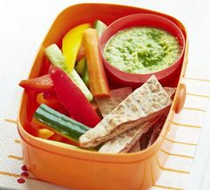 Use cannellini beans, garlic and tahini in this quick, easy and healthy dip - perfect packed in kids' lunch boxes with pitta bread and veggies