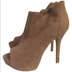 Blush suede platform booties. Blush suede tall stiletto bootie/pumps. Minimal wear (pictured). Style: Lovelly. Steve Madden Shoes Platforms
