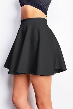 Classic skater skirt with a stretchy elastic waistband. Light scuba-like fabric with subtle sheen. Great basic that can be mixed and matched with any top. *Hand Wash Polyester Top to Bottom- (Measured on a size S) Model is wearing size S*Made in USA Skirt Outfits, Dress Skirt, Casual Outfits, Fashion Outfits, Fashion Trends, Skater Skirt Outfit, Skater Dresses, Shift Dresses, Mini Skater Skirt