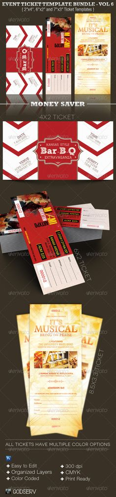 Event Ticket Template Bundle - arsenal tickets Pinterest - banquet ticket template