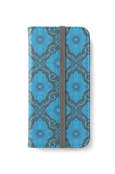 """""Palatial floral"", bohemian floral in gray and blue colors"" iPhone Wallets by clipsocallipso 