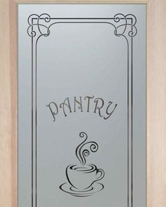 Pantry Doors Glass Etched Coffee Cup Espresso Swirls Sans Soucie