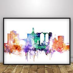 San Jose Skyline Colorful, California City Watercolor Cityscape Poster Print…