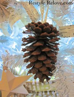 Restyle Relove: White Neutral Rustic Christmas Tree with Pinecones and Stars