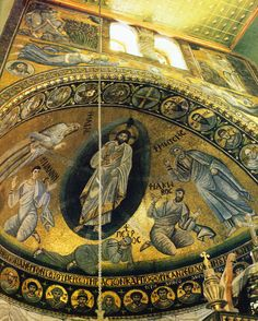 Apse mosaic depicting the Transfiguration, St Catherine's church at the monastery of Mount Sinai. Byzantine Art, Byzantine Icons, Byzantine Mosaics, Sacred Architecture, Church Architecture, The Transfiguration, Orthodox Icons, Medieval Art, Sacred Art