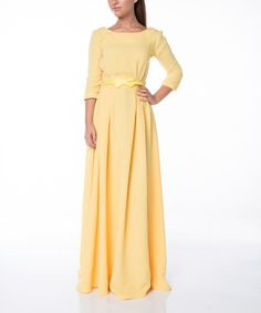 FX Missony Yellow Bow-Belted Maxi Dress | zulily