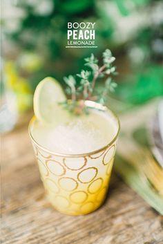 #lemonade, #signature-drinks, #peach, #recipe, #glassware, #lemon, #vodka, #cocktail  Photography: Rustic White - rusticwhite.com  Read More: http://www.stylemepretty.com/living/2014/04/17/a-blossoming-easter-tablescape/