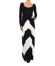 Look at this #zulilyfind! J-MODE Black & White Chevron Scoop Neck Maxi Dress by J-MODE #zulilyfinds