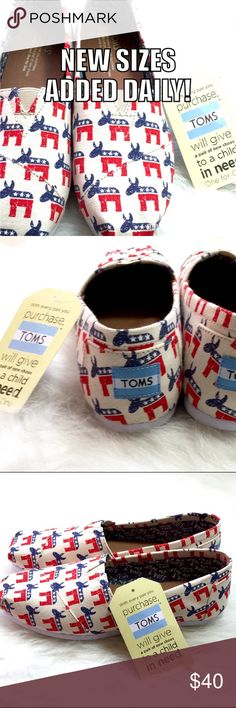 """🇺🇸 TOMS DEMOCRATIC DONKEY slip on loafers! GET 'EM WHILE THEY'RE HOT! Wear your always fashionable registration on your feet with these vegan leather limited edition Election Day TOMS. USA red, white & blue Democratic Donkeys flaunt your political style and will pair perfectly with any pant, top, skirt, jogger or styrofoam voter hat in your closet. Inside chambray lining uplifts our right with """"Step out & Vote."""" Encourage others! Get em to the poles! Wear that sticker! Regardless of…"""