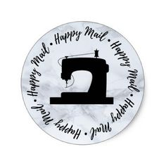 Happy Mail Sewing Shop Branding  Marble Texture Classic Round Sticker - marble gifts style stylish nature unique personalize
