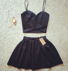 Leather crop top with skirt