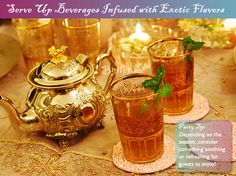 Serve Moroccan hot mint tea in authentic teapot and glasses