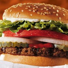 "Great Website for ""Healthy"" Fast Food! Whopper Jr. with everything 340 Calories. Take away the mayo and it's only 260 Calories!"