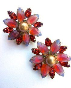 Orange Pink Givre Rhinestone Earrings Marquis Cut Post