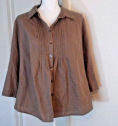 Croft-amp-Barrow-Blouse-Button-Peasant-Boho-Hippy-Size-XL-Brown-Linen-Blend-Cotton