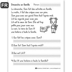 PDF File Language: French Black & White 1 page Page Size: X 11 in. 2nd Grade Reading Comprehension, Grade 1 Reading, Kindergarten Reading Activities, French Flashcards, French Worksheets, 1st Grade Worksheets, French Language Lessons, French Language Learning, French Lessons
